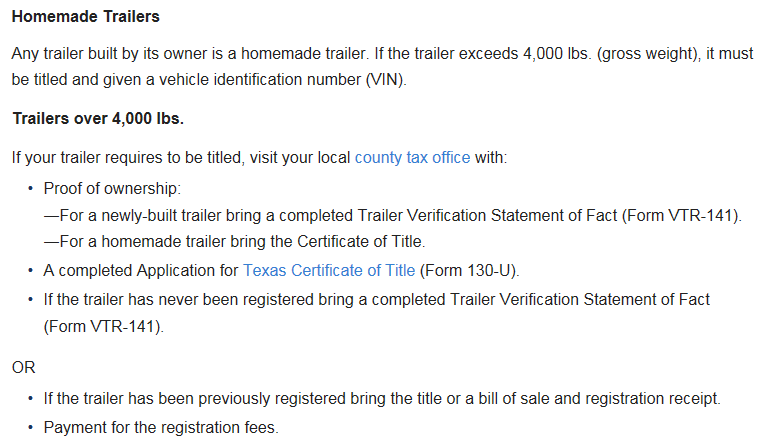 Register a homemade trailer - Harris Co