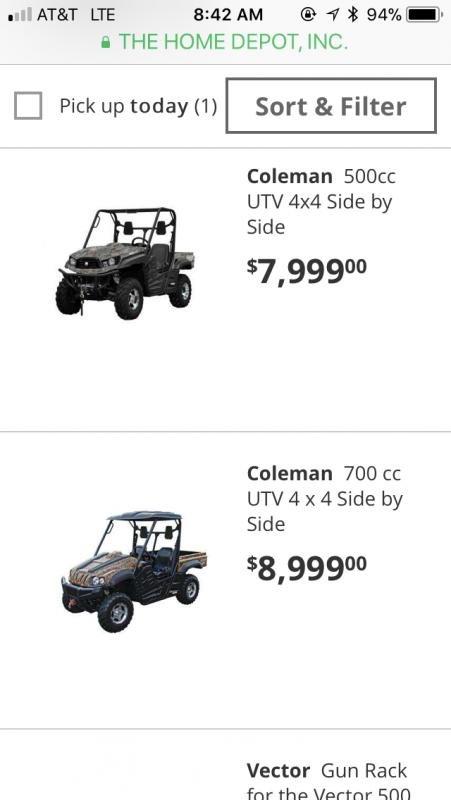 Home Depot UTVs - TexasBowhunter com Community Discussion Forums
