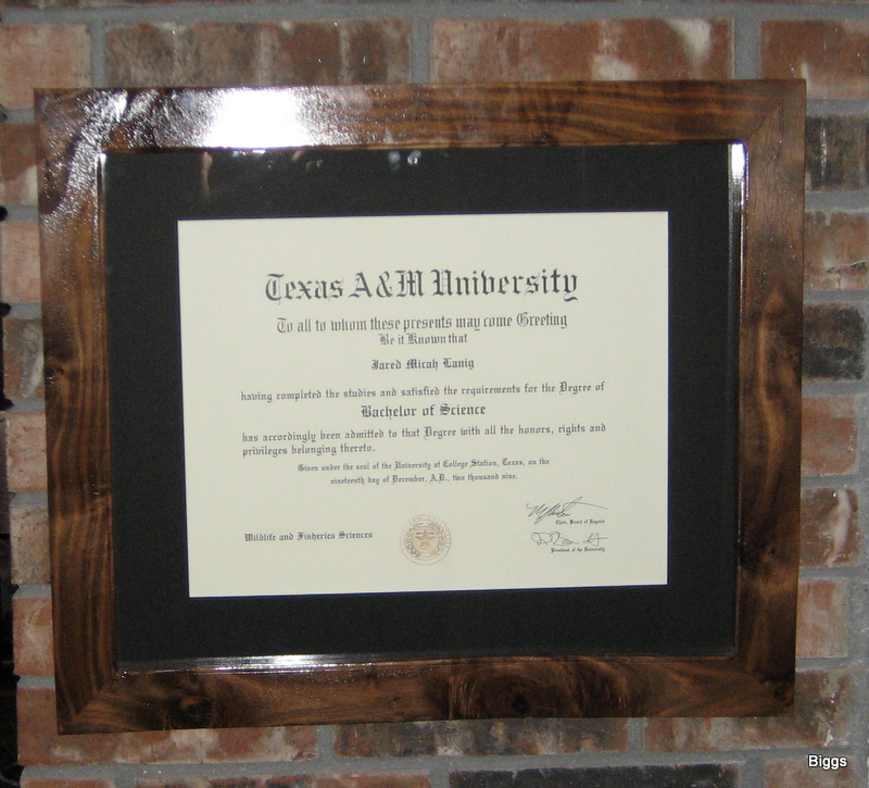 Biggs Homemade Walnut Diploma Frame - TexasBowhunter.com Community ...