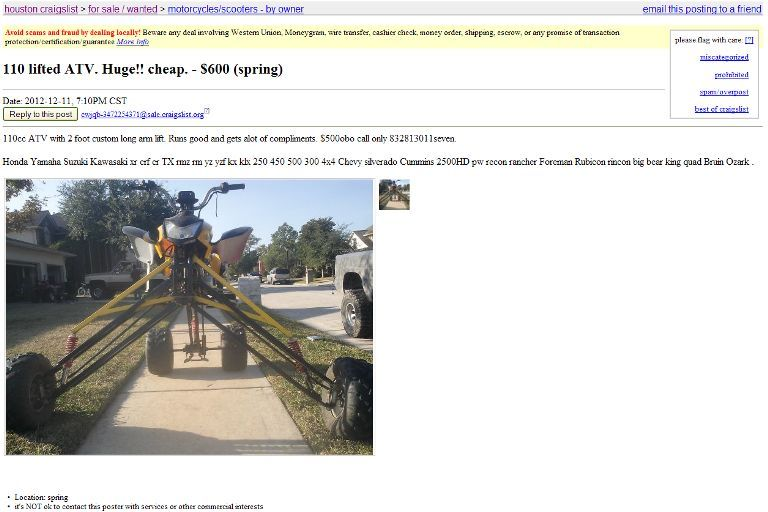 Silly looking 4 wheeler for sale on Craigslist